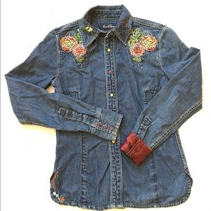 Earl jeans embellished Jean blouse Size Small